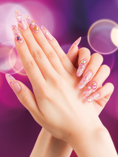 "Spiritual Pink<br />Noble and mesmerizing PINK with a dazzle of gold and glitter to wrap around the fingertips exdudes an alluring ""aura""."
